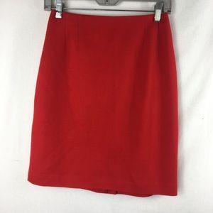 Linda hallard Ellen Tracy Red 100% wool skirt 8